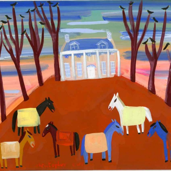 Art-New-England-house-and-horses
