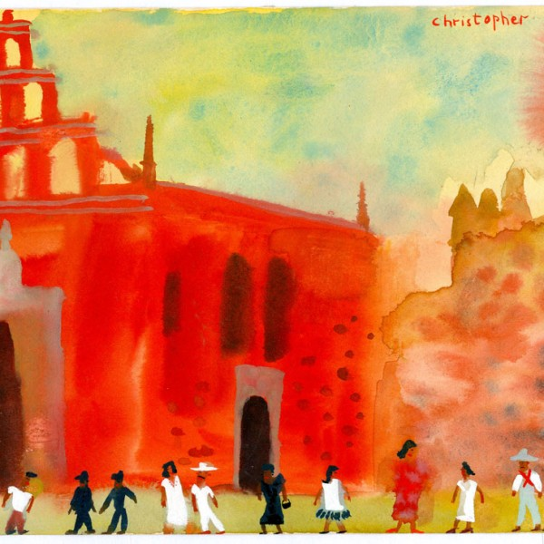 Sketch-Red-church-in-Merida