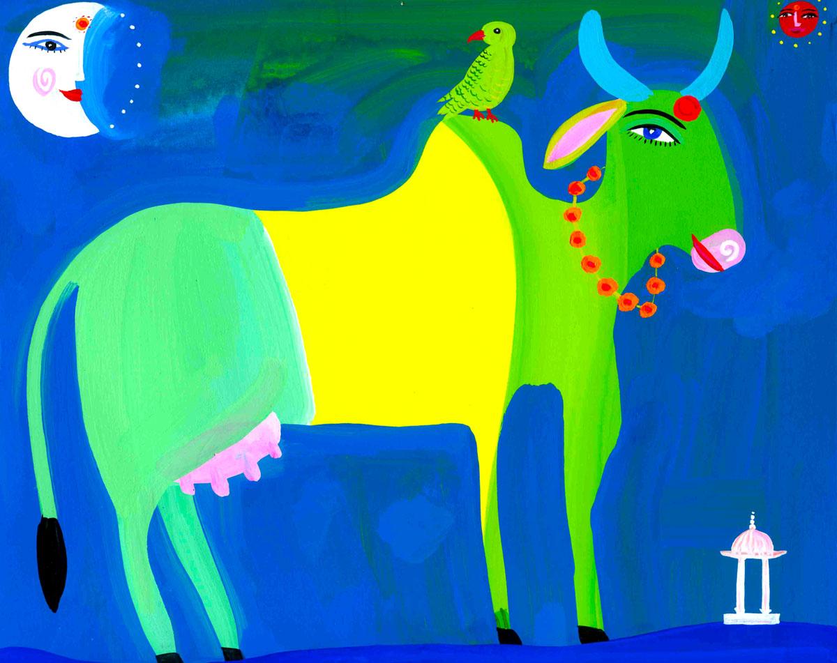 Art-Cow-&-Parrakeet