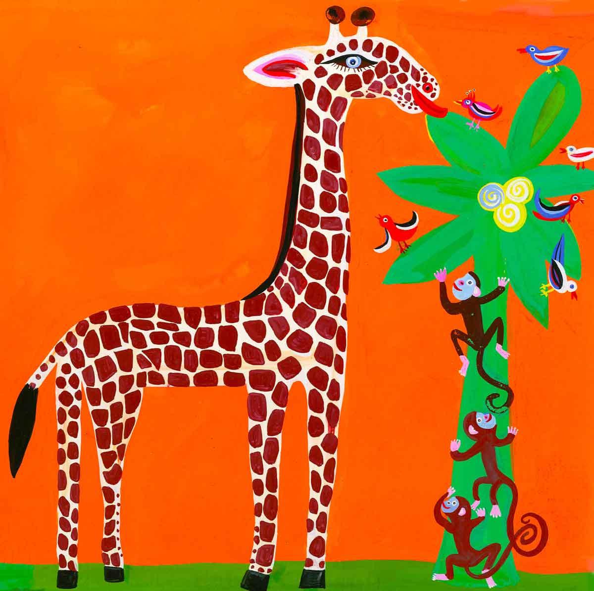 Illustration-Giraffe-&-monkeys