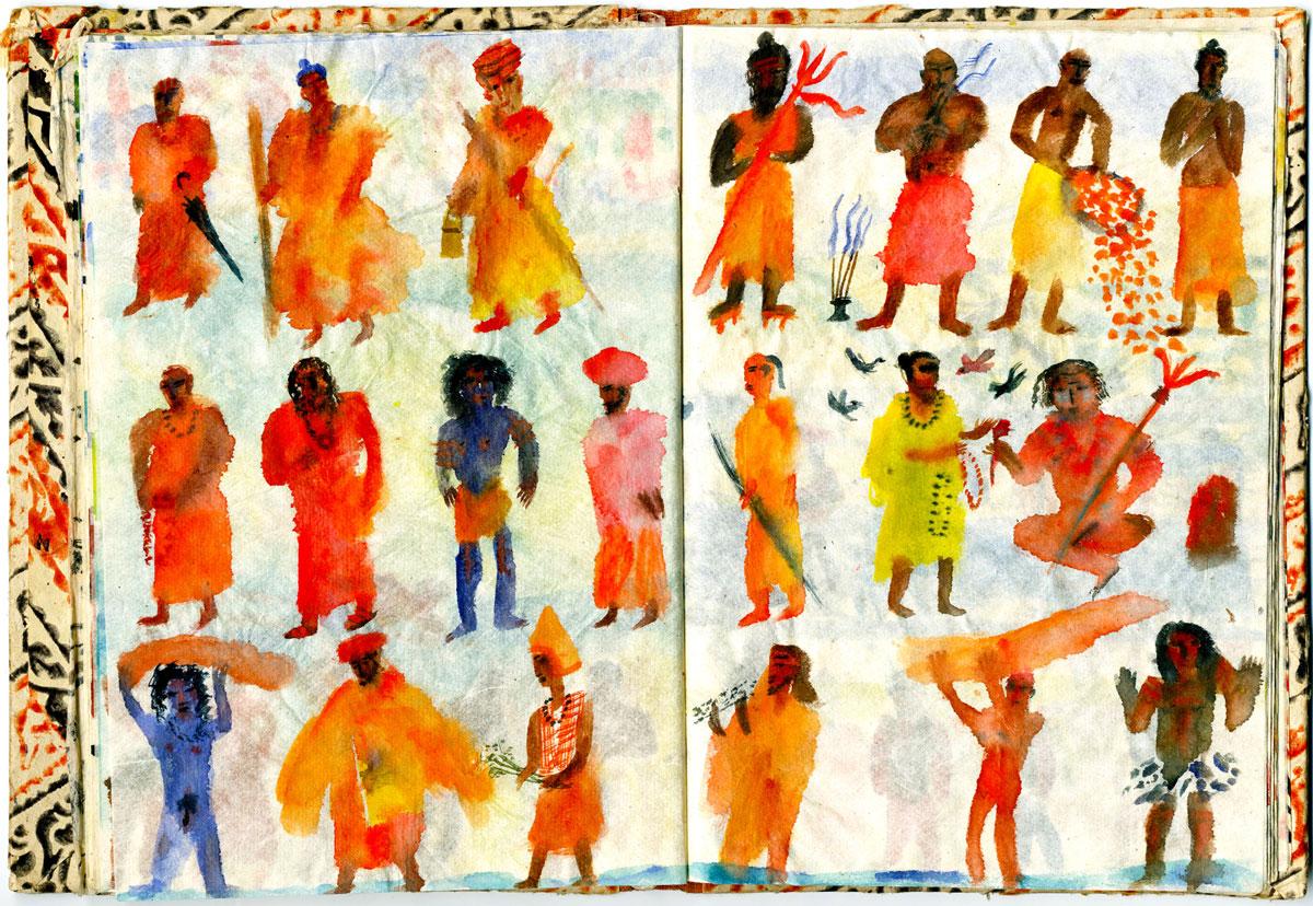 Sketch-Indian-Sadhus