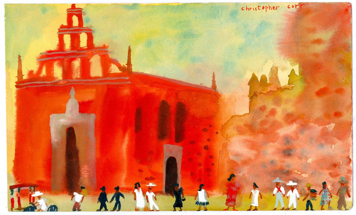 Sketch-Red-church-in-Merida